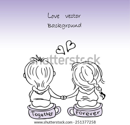 vector illustration of a couple in love, Valentine's Day - stock vector