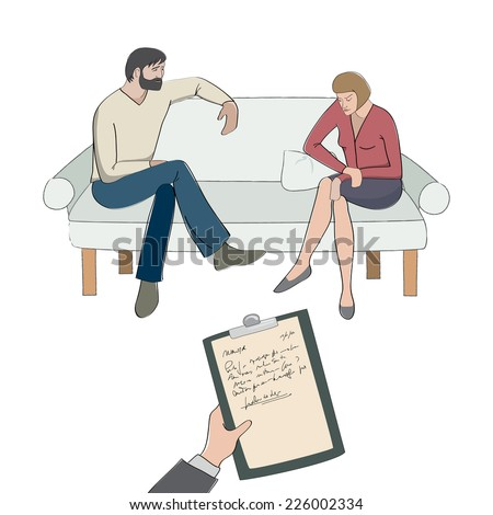 Vector illustration of a couple therapy session. - stock vector