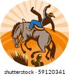 vector illustration of a cowboy falling off horse in the desert done in retro woodcut style. - stock vector