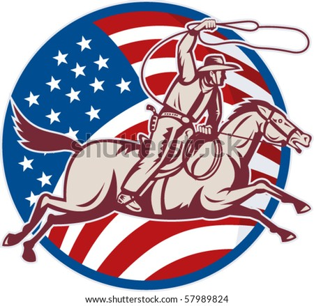 vector illustration of a cowboy riding horse with lasso and american flag