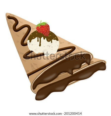Vector illustration of a crepe (pancake) with chocolate, ice cream and strawberry isolated on white