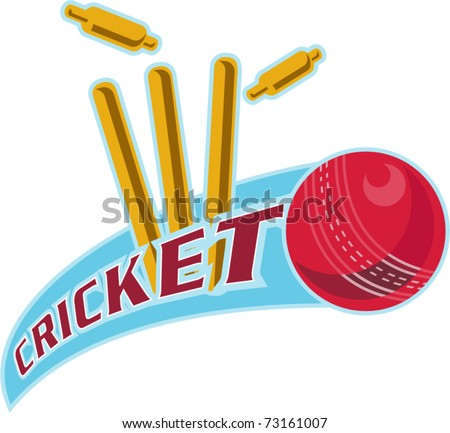 "vector illustration of a cricket ball hitting bowling over wicket with words ""cricket"" - stock vector"