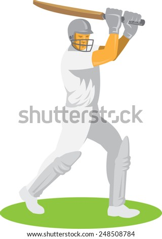 vector illustration of a cricket player batsman batting done in retro style. - stock vector