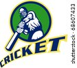 vector illustration of a cricket sports batsman  batting isolated on white - stock vector