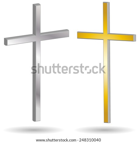 Vector illustration of a cross on a white background. - stock vector