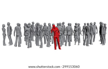 Vector illustration of a crowd of gray people and released the red man. 3D. Polygons. Isolated. EPS 8. - stock vector