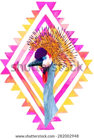 vector illustration of  a crowned crane portrait with tribal geometric neon frame. Elegant bird, hipster frame, a central composition for fashion.