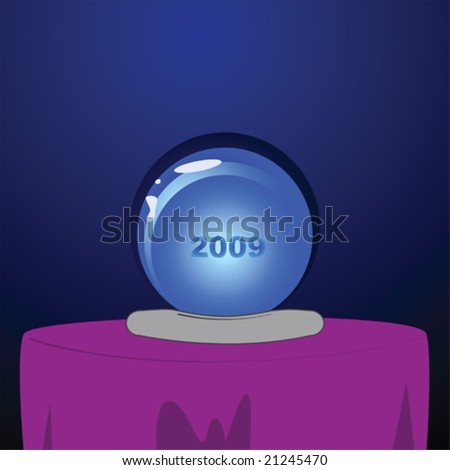 Vector illustration of a crystal ball with the year 2009 inside it - stock vector