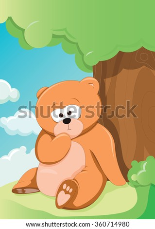 vector illustration of a cute bear relaxing under a tree - stock vector