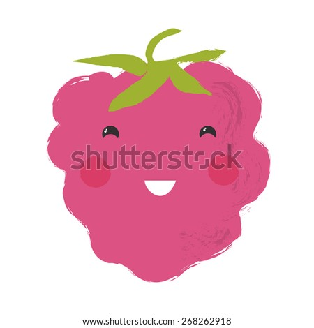 Vector illustration of a cute berry - Strawberry - stock vector