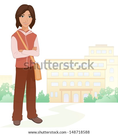 Vector illustration of a cute brunet boy student at the school - stock vector