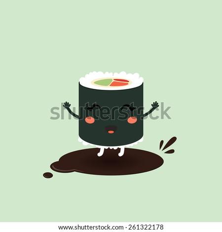 Vector illustration of a cute cartoon roll, suchi. Japanese food. Eps 10 - stock vector
