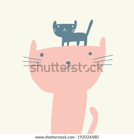 Vector illustration of a cute cat and a kitten for mothers day - stock vector