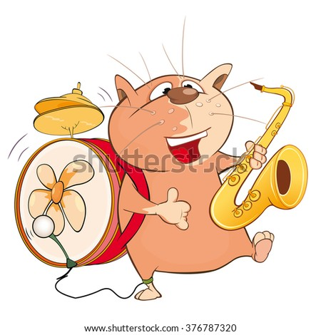 Vector Illustration of a Cute Cat One-Man Band. Cartoon Character - stock vector