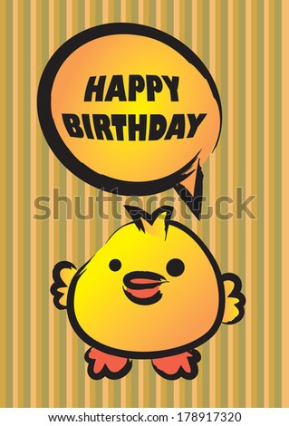 Vector illustration of a cute chick saying happy birthday - stock vector