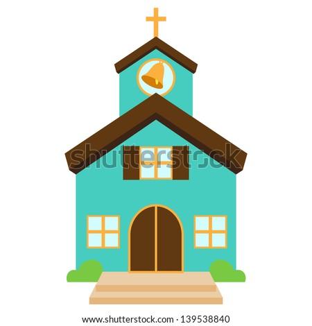 Vector Illustration of a Cute Church or Chapel - stock vector