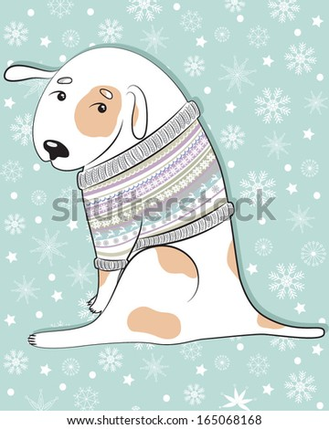 Vector illustration of a cute dog in a sweater with ornaments - stock vector