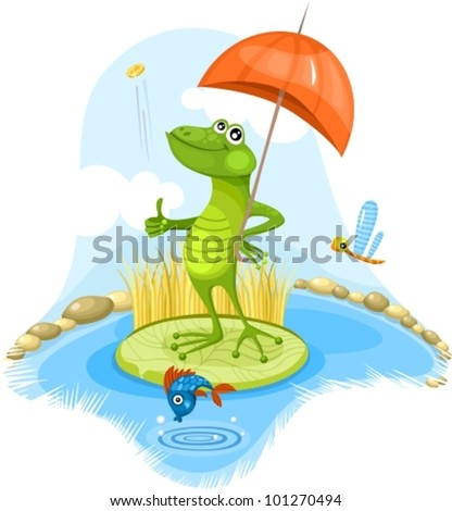 vector illustration of a cute frog - stock vector