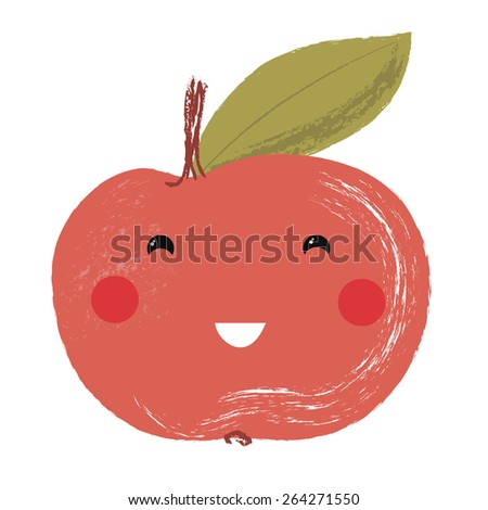 Vector illustration of a cute fruit - apple - stock vector