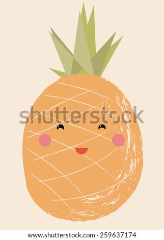 Vector illustration of a cute fruit - Pineapple - stock vector
