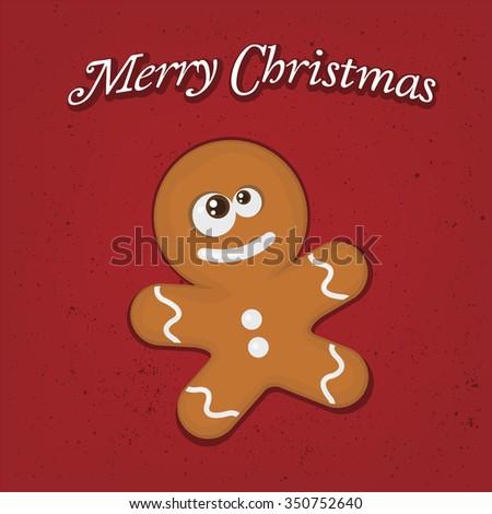 vector illustration of a cute gingerbread man - stock vector