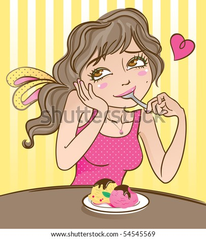 Vector illustration of a cute happy girl, enjoying her favorite dessert: ice cream with chocolate syrup. - stock vector
