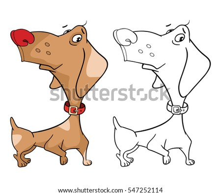 Vector Illustration Of A Cute Hunting Dog Dachshund Cartoon Character Coloring Book