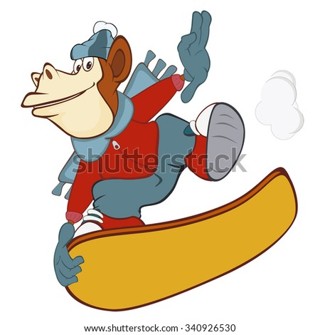 Vector Illustration of a Cute Monkey Snowboarding. Cartoon Character