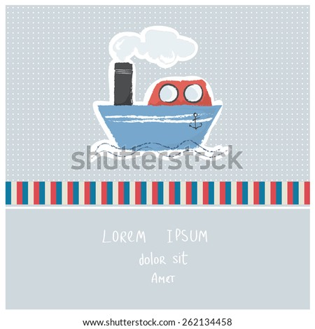 Vector illustration of a cute poster/postcard template, can be used as a scrapbook paper for baby shower or birthday invitation, marine theme - stock vector