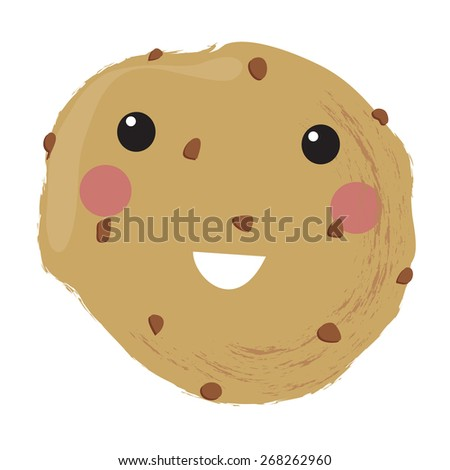 Vector illustration of a cute smiling chocolate cookie - stock vector