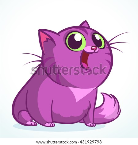 Vector illustration of a cute smiling purple fat cat. Fat striped cat cartoon  - stock vector