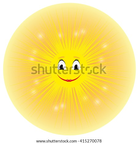 Vector illustration of a cute smiling yellow cartoon sun. Isolated on a white background. Shining summer sun with rays. - stock vector