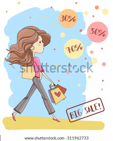 Vector illustration of a cute young girl with long hair. Big sale labels. Template for design cards, notebook, shop, poster and sale/Print for T-shirt. Character design.
