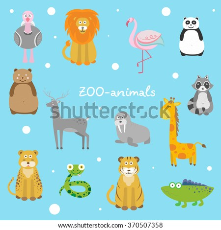 Vector illustration of a cute zoo animals (lion, tiger, giraffe, raccoon, alligator, flamingo, panda, bear). Flat design