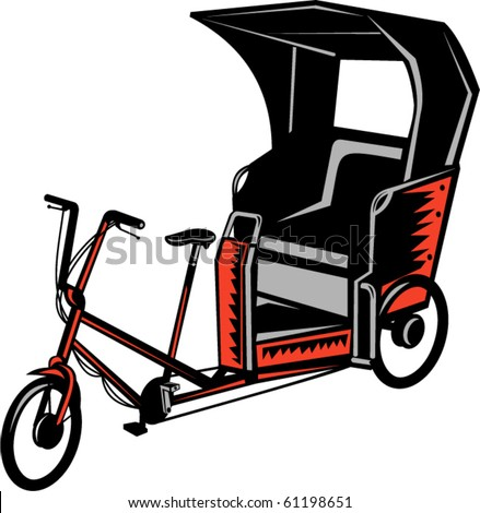 vector illustration of a Cycle Rickshaw isolated on white background - stock vector