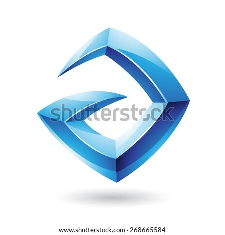 Vector Illustration of a 3d Sharp Glossy Blue Logo Shape based on Letter A  - stock vector