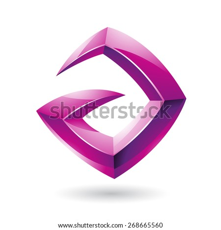Vector Illustration of a 3d Sharp Glossy Magenta Logo Shape based on Letter A  - stock vector