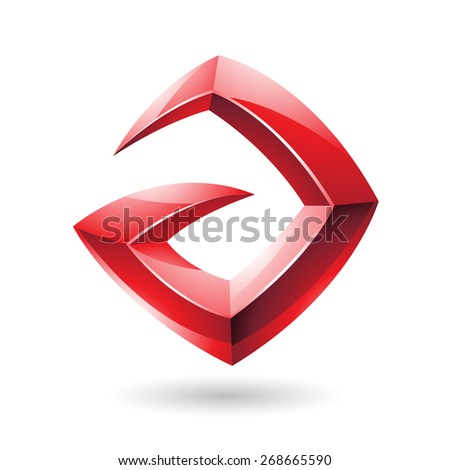Vector Illustration of a 3d Sharp Glossy Red Logo Shape based on Letter A  - stock vector