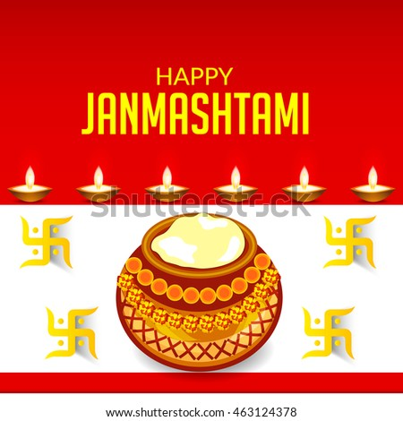 Vector illustration of a dahi handi for Happy Krishna Janmashtami with colorful red background.