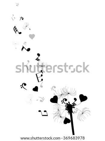 vector illustration of a dandelion with hearts and musical notes - stock vector