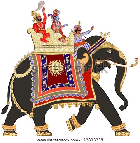 Vector illustration of a decorated indian elephant - stock vector