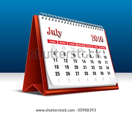 Vector illustration of a 2010 desk calendar showing the month July