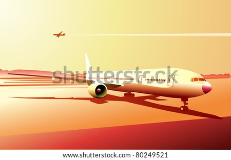 Vector illustration of a detailed airplane on the urban airport scene.  Retro style. - stock vector