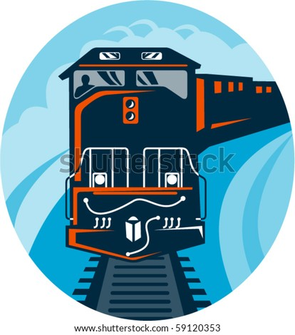 vector illustration of a Diesel Train traveling on tracks straight up - stock vector