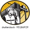 vector Illustration of a dock worker talking on the phone with container van and crane overhead done in retro style. - stock vector