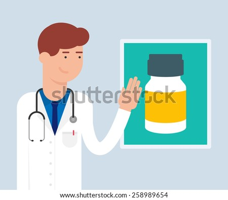 Vector illustration of a doctor presenting a medicine - stock vector