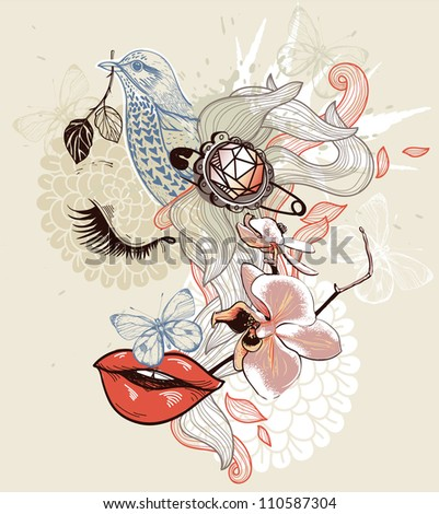 vector illustration of a dreaming girl, flowers and a blue bird - stock vector