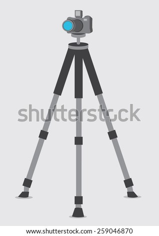 Vector illustration of a DSLR Camera on a Tripod isolated on plain background