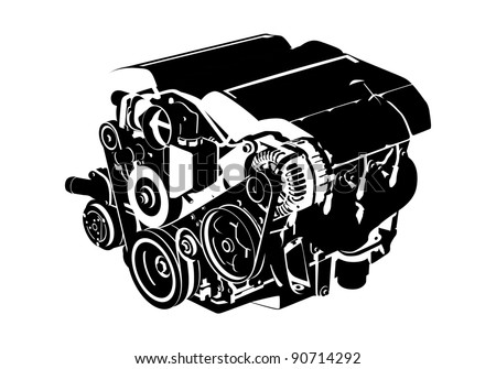 Vector illustration of a engine on white background - stock vector