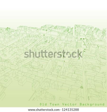 Vector illustration of a European town in green color. - stock vector